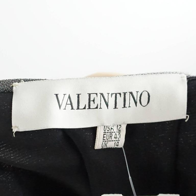 Valentino Grey Metallic Silk Maxi Skirt - 12 In Good Condition For Sale In Palm Beach, FL