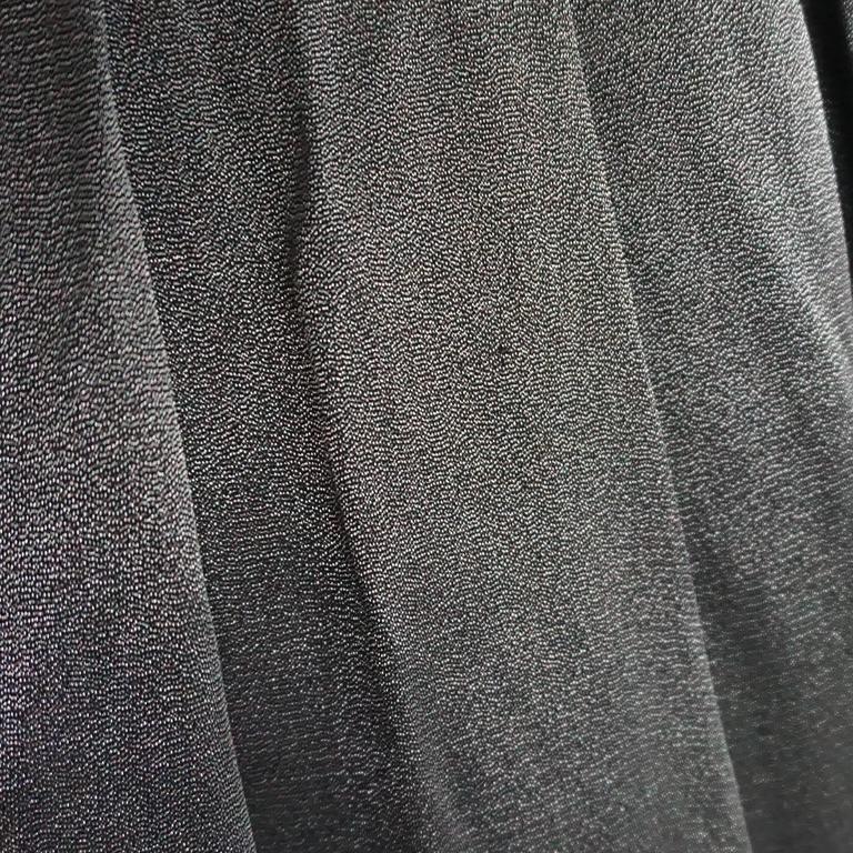 Valentino Grey Metallic Silk Maxi Skirt - 12 5
