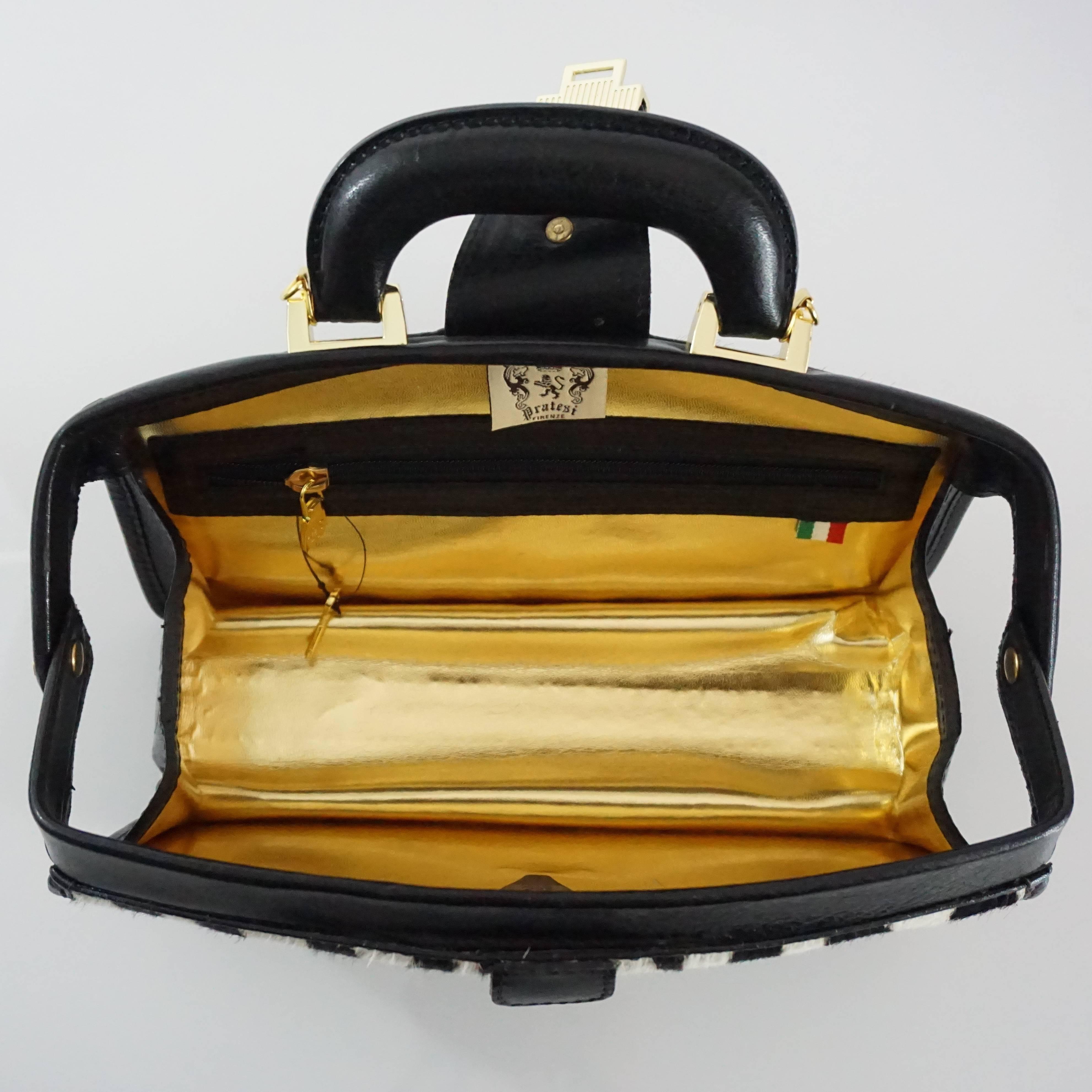 1stdibs Pratesi Black And White Pony Hair Top Handle Bag z1d0F4t