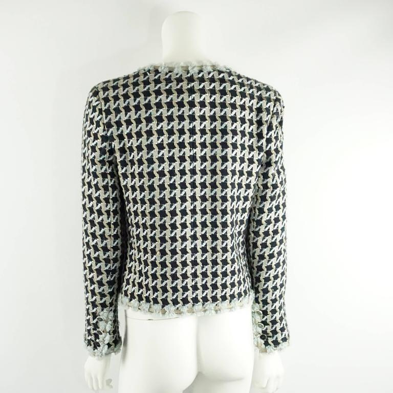 Chanel Navy and Light Blue Tweed Jacket with Plunging Neck - 38 3