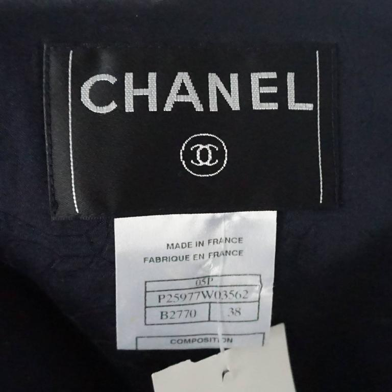 Chanel Navy and Light Blue Tweed Jacket with Plunging Neck - 38 6