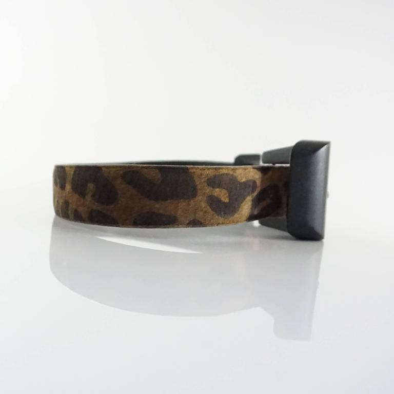 Patricia Von Musulin Animal Print Suede Belt with Wooden Buckle  2
