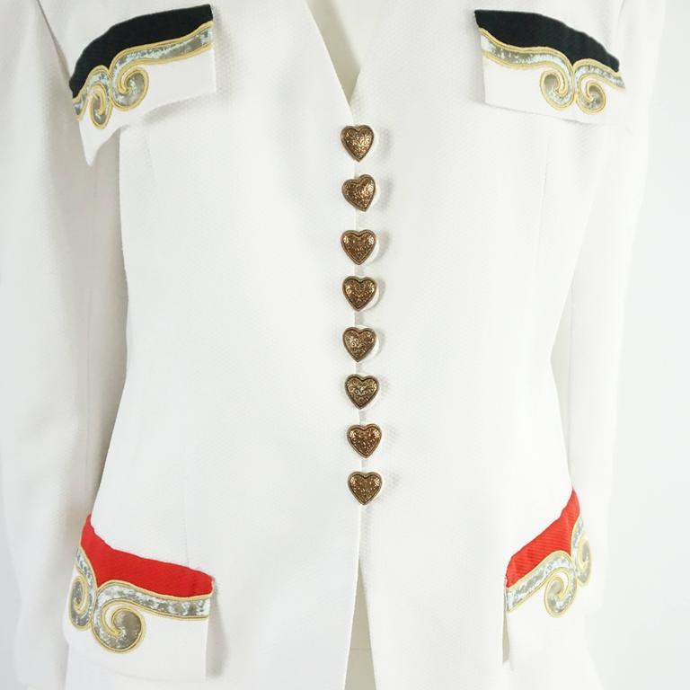 Palm Beach Chic Circa 1990s: Pierre Balmain Vintage White Cotton Jacket With
