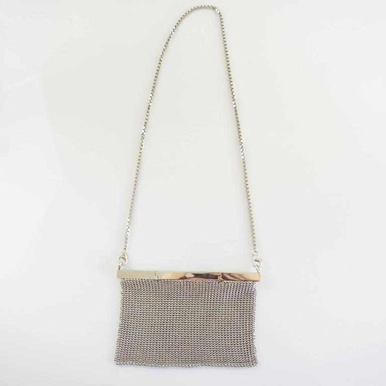 Salvatore Ferragamo Silver Mesh Bag and Clutch  4