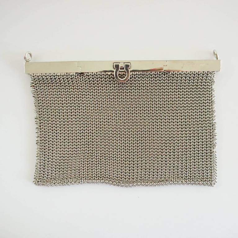 Salvatore Ferragamo Silver Mesh Bag and Clutch  2
