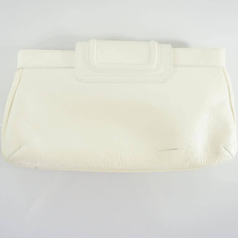 Beige Oscar de la Renta Ivory Patent Leather Large Clutch  For Sale