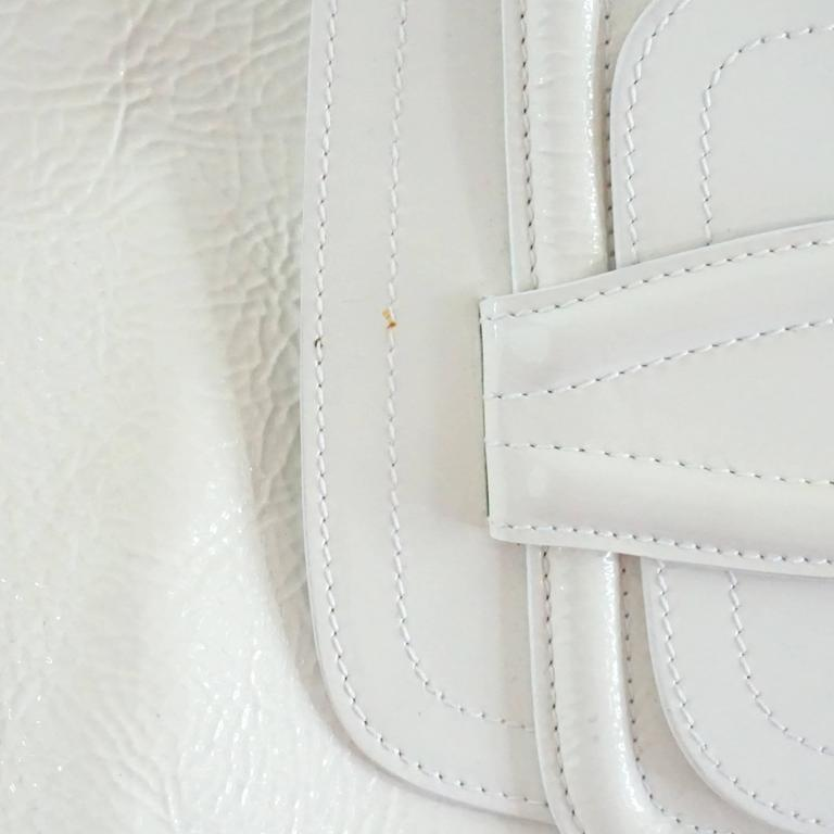 Oscar de la Renta Ivory Patent Leather Large Clutch  For Sale 2