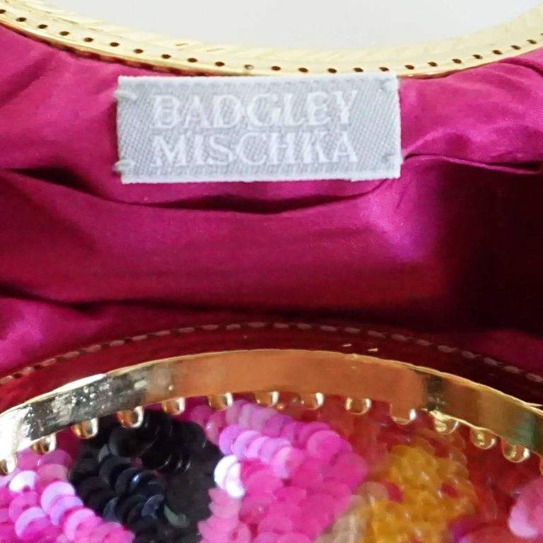 Women's Badgley Mischka Pink and Red Sequin Evening Bag with Gold Handles For Sale