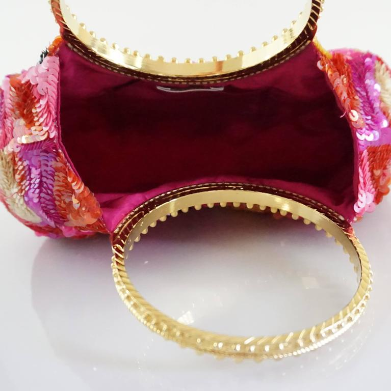 Badgley Mischka Pink and Red Sequin Evening Bag with Gold Handles For Sale 1