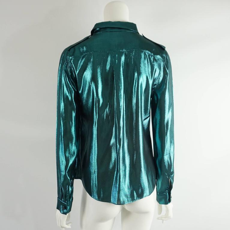 Lanvin Metallic Teal Silk Lame Button Down Shirt – 38 In Excellent Condition For Sale In Palm Beach, FL