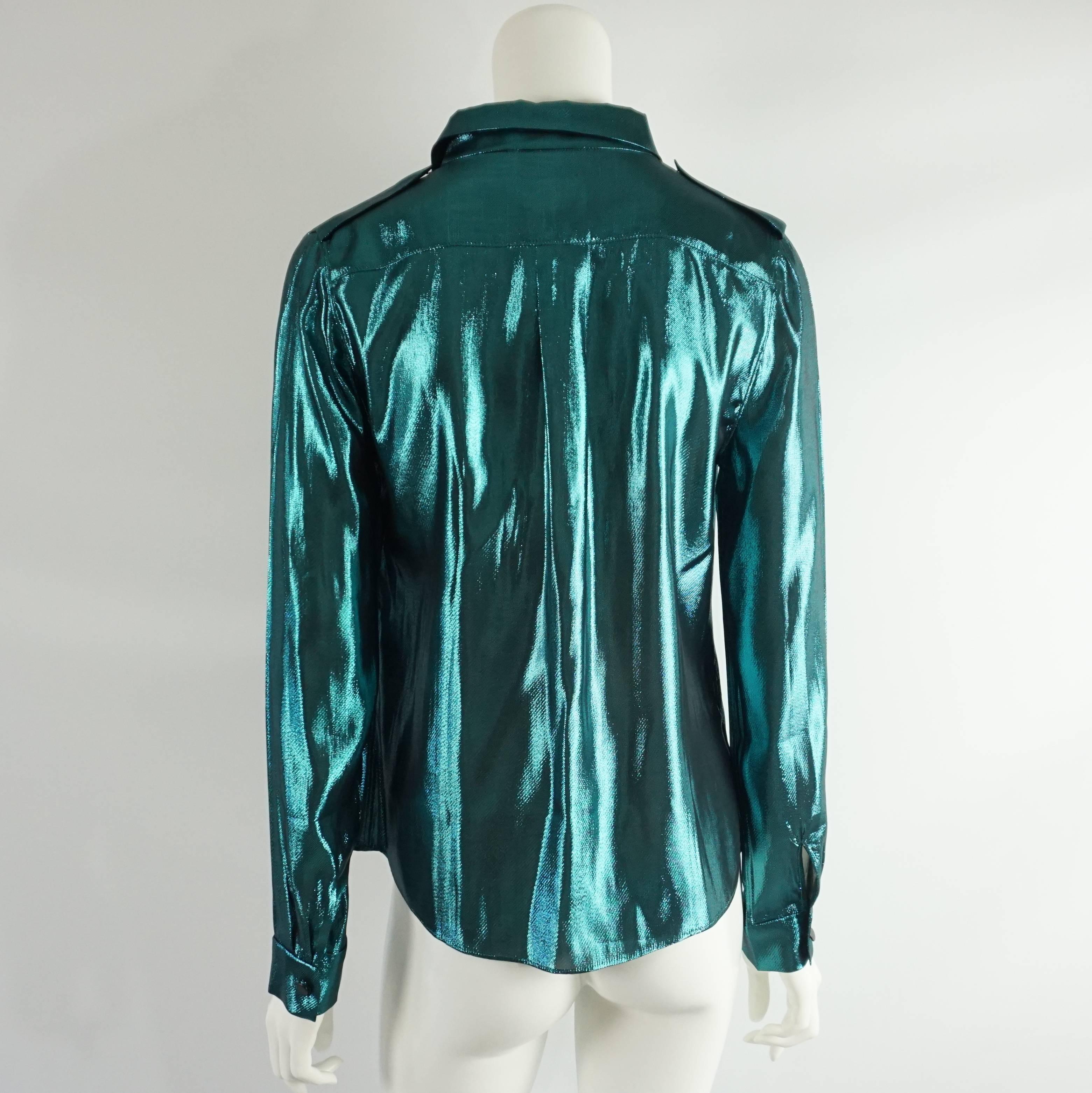 b8c4932ae2406 Lanvin Metallic Teal Silk Lame Button Down Shirt – 38 For Sale at 1stdibs