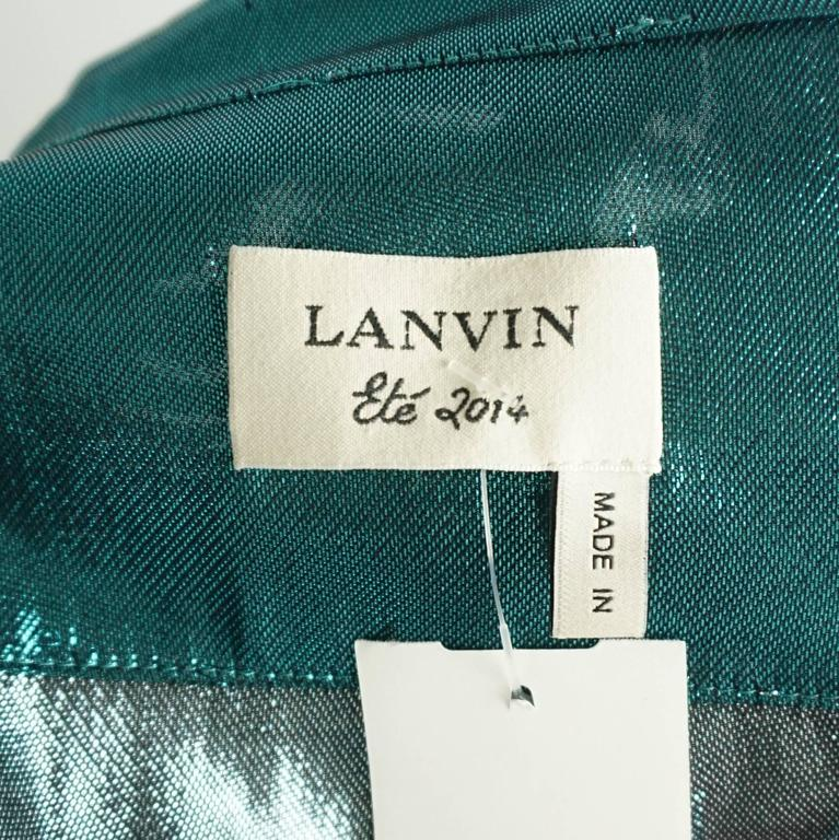 Women's Lanvin Metallic Teal Silk Lame Button Down Shirt – 38 For Sale