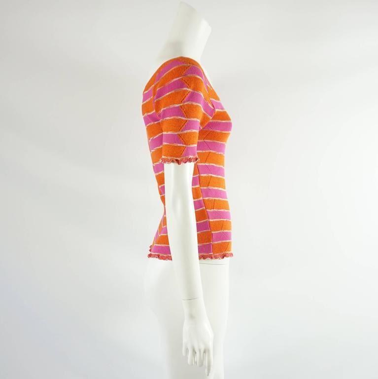Missoni Pink and Orange Knitted Short Sleeve Top – S 2