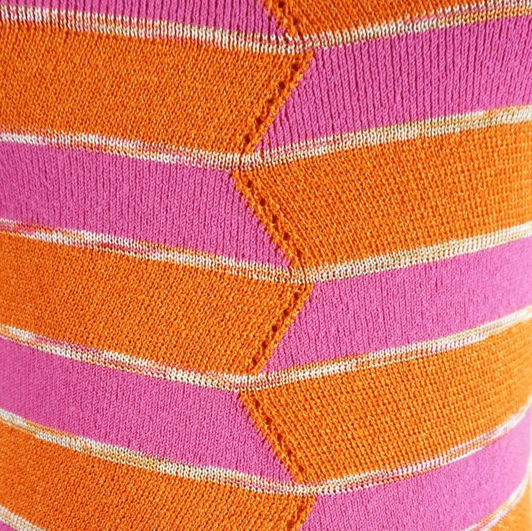 Missoni Pink and Orange Knitted Short Sleeve Top – S 4