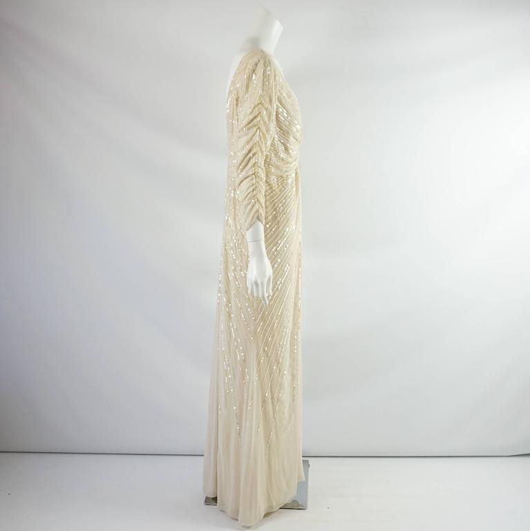 Valentino Cream Silk Beaded 3/4 Sleeve Gown – 12 2