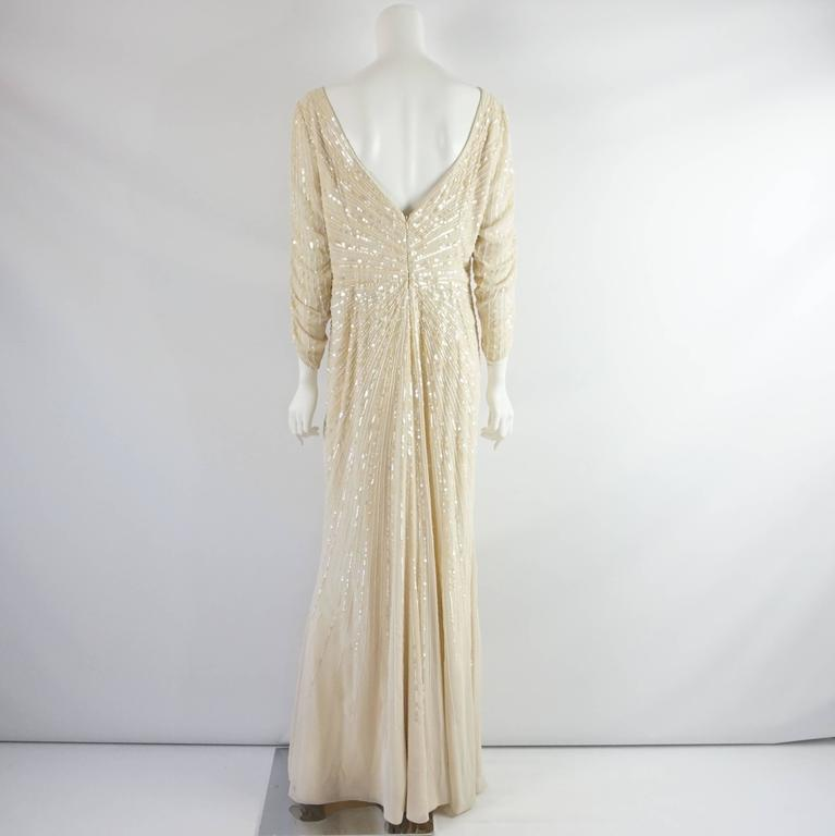 Valentino Cream Silk Beaded 3/4 Sleeve Gown – 12 For Sale at 1stdibs