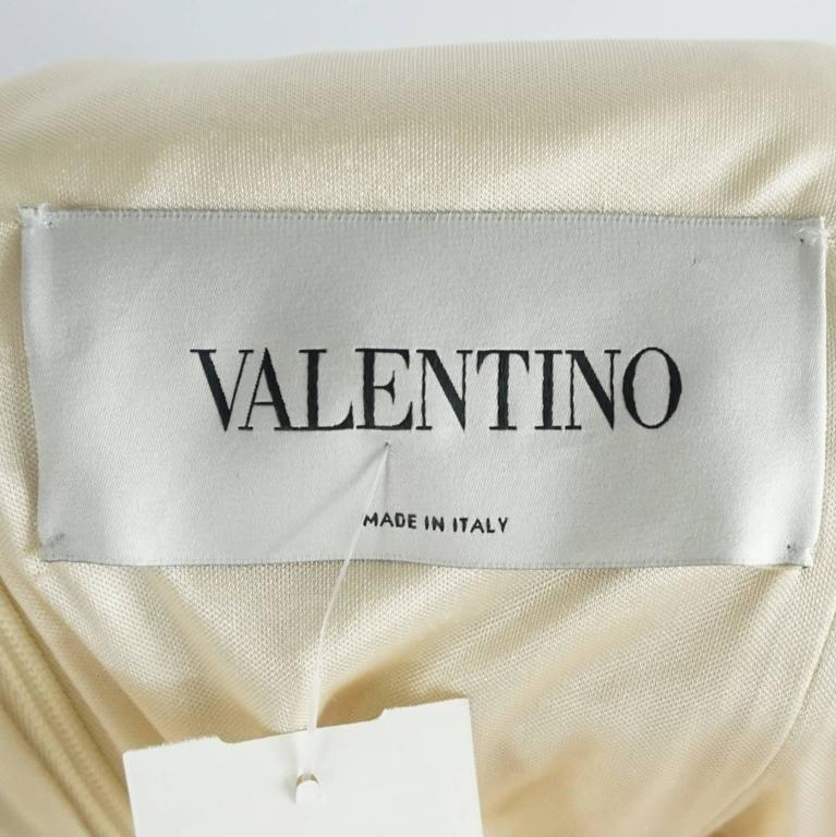 Valentino Cream Silk Beaded 3/4 Sleeve Gown – 12 5