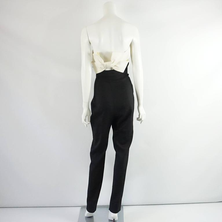 Valentino Black and Ivory Strapless Jumper with a Bow, Size 10 3
