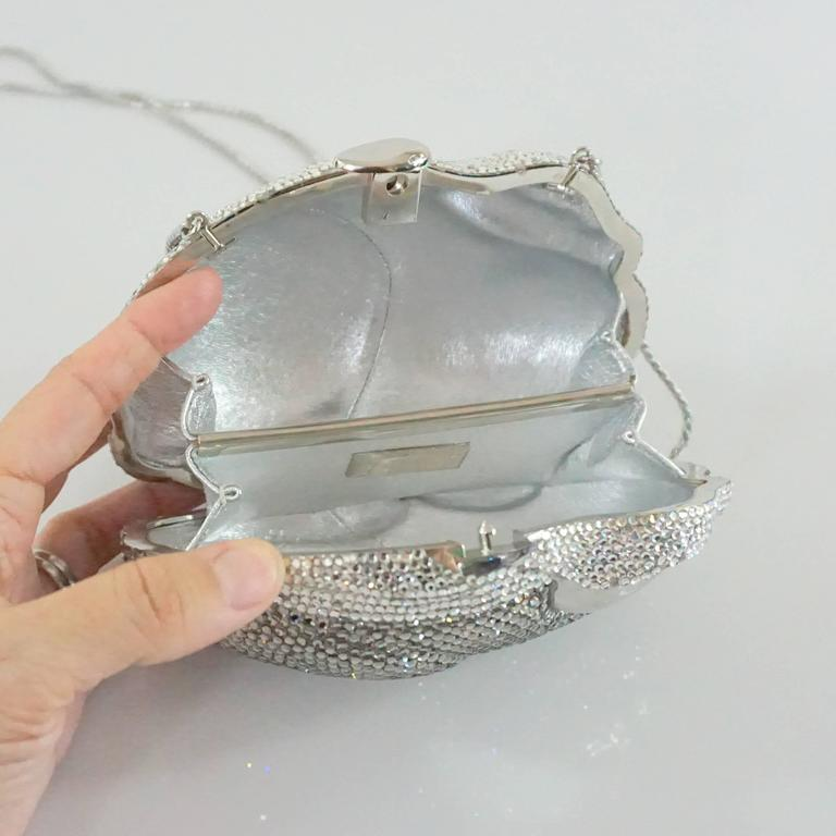 Women's or Men's Judith Leiber Silver Rhinestone Bunny Rabbit Minaudiere  For Sale