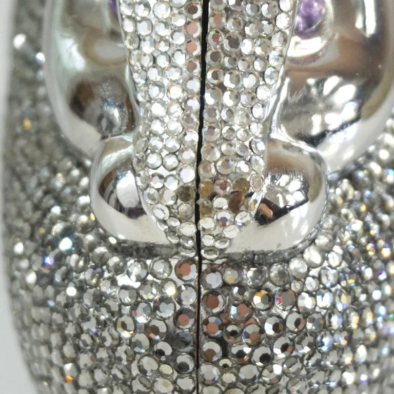 Judith Leiber Silver Rhinestone Bunny Rabbit Minaudiere  For Sale 1