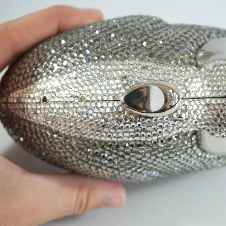 Judith Leiber Silver Rhinestone Bunny Rabbit Minaudiere  For Sale 2