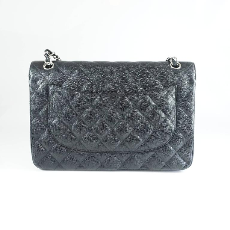 Chanel Black Caviar Jumbo Classic Handbag - SHW - 2013  In Excellent Condition For Sale In Palm Beach, FL