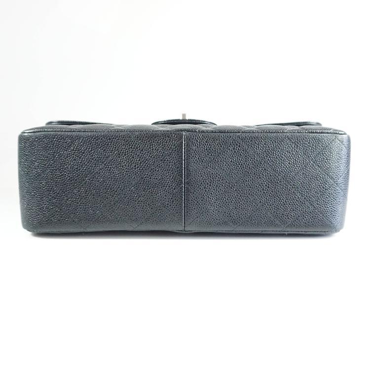 Women's Chanel Black Caviar Jumbo Classic Handbag - SHW - 2013  For Sale