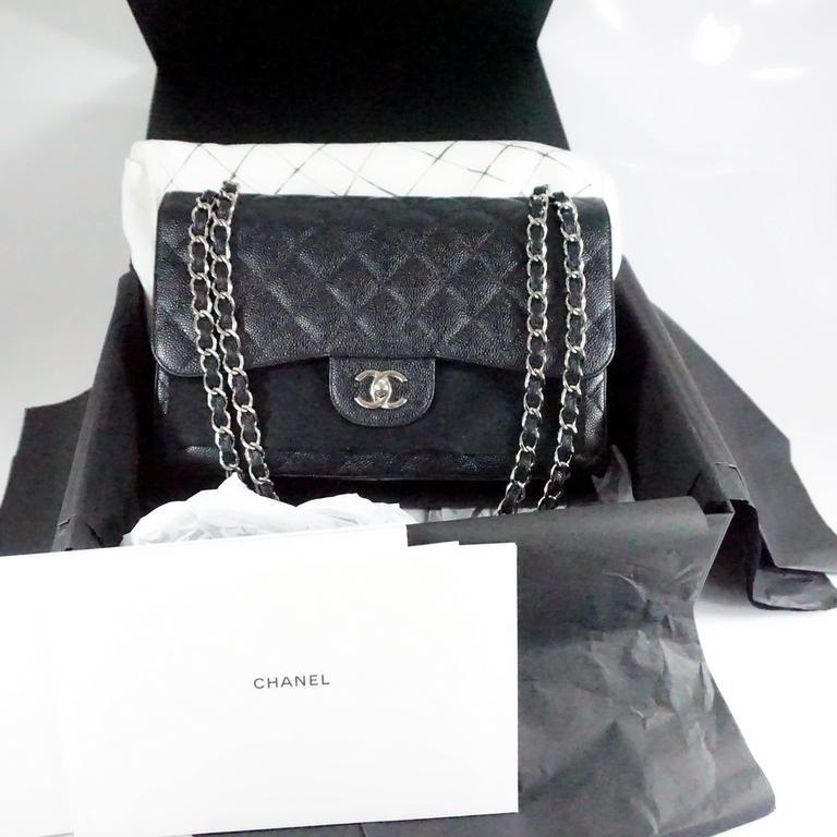 Chanel Black Caviar Jumbo Classic Handbag - SHW - 2013  7