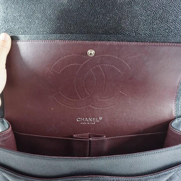 Chanel Black Caviar Jumbo Classic Handbag - SHW - 2013  8