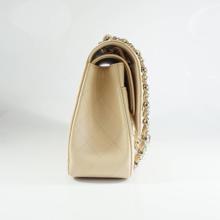 Chanel Beige Caviar Jumbo Classic Double Flap Handbag - 2015 2