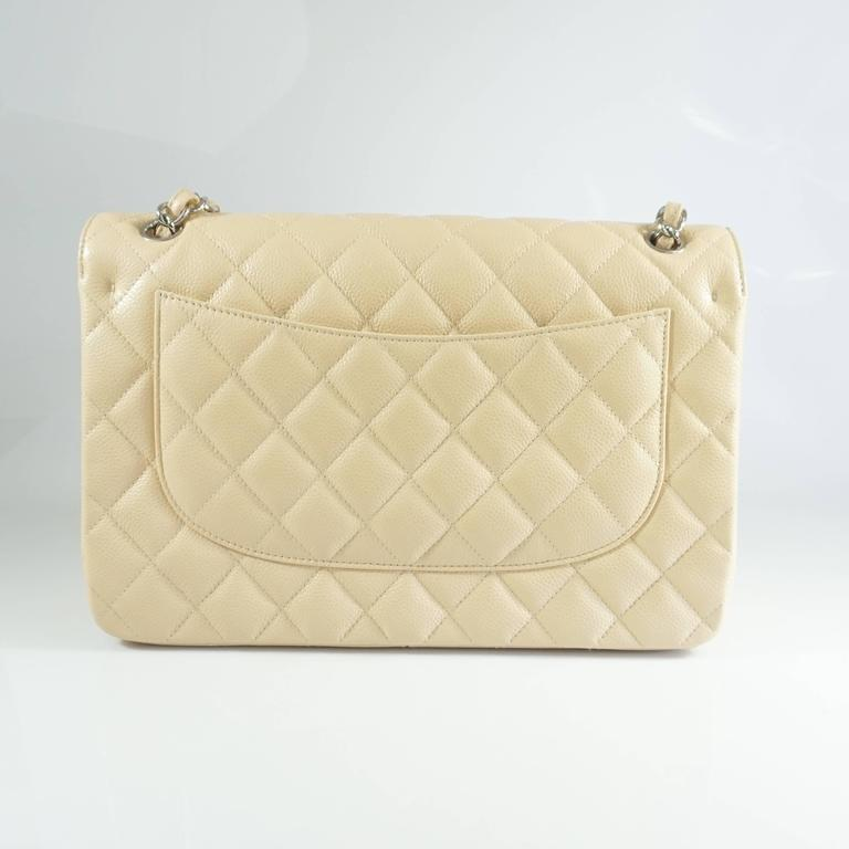Chanel Beige Caviar Jumbo Classic Double Flap Handbag - 2015 In New Never_worn Condition For Sale In Palm Beach, FL
