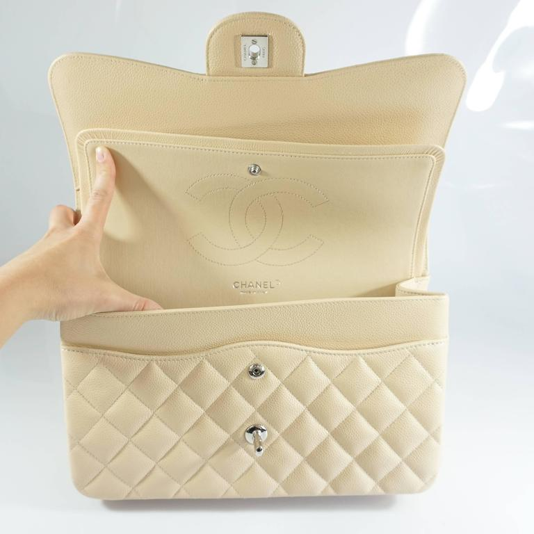 Chanel Beige Caviar Jumbo Classic Double Flap Handbag - 2015 For Sale 1