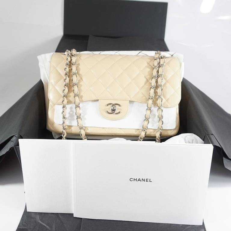 Chanel Beige Caviar Jumbo Classic Double Flap Handbag - 2015 8