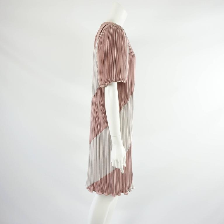 Vintage Pleated Striped Dress with Puffed Sleeves - 8 - 1980's  2