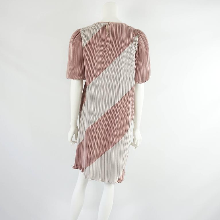 Vintage Pleated Striped Dress with Puffed Sleeves - 8 - 1980's  3