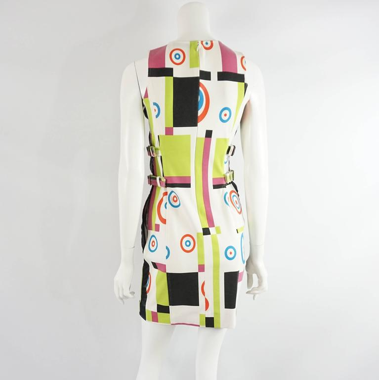Beige Charles Jourdan Multi Abstract Print and Mesh Dress - S For Sale