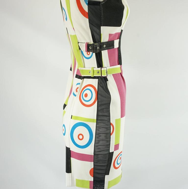 Charles Jourdan Multi Abstract Print and Mesh Dress - S In Good Condition For Sale In Palm Beach, FL
