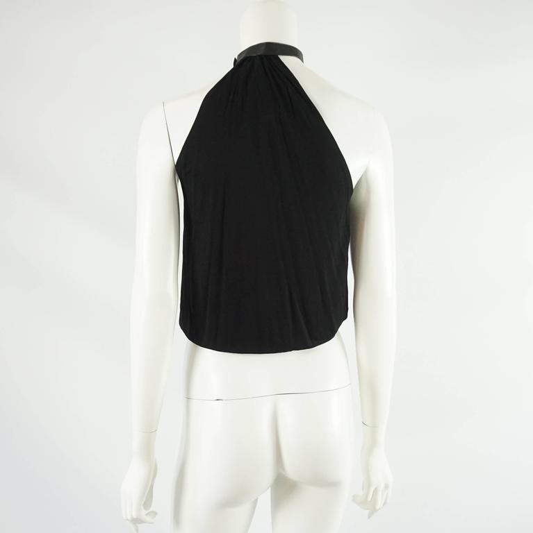 Gucci Black Jersey Halter Top with Leather  - 38  In Excellent Condition For Sale In Palm Beach, FL