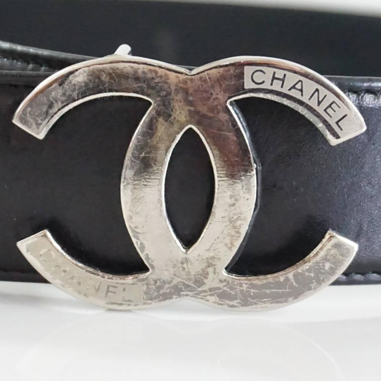 Chanel Black Leather Belt With Silver Logo Buckle 32 At