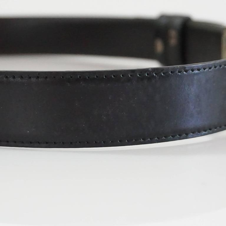 gucci black leather belt with a silver buckle for sale at