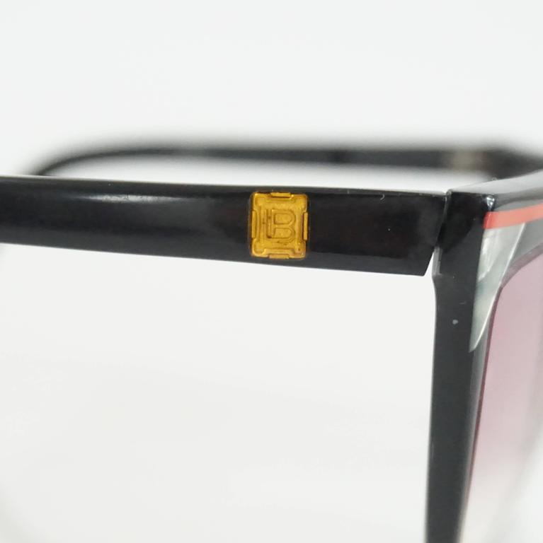 Women's Laura Biagiotti Black Sunglasses with Red Detailing For Sale