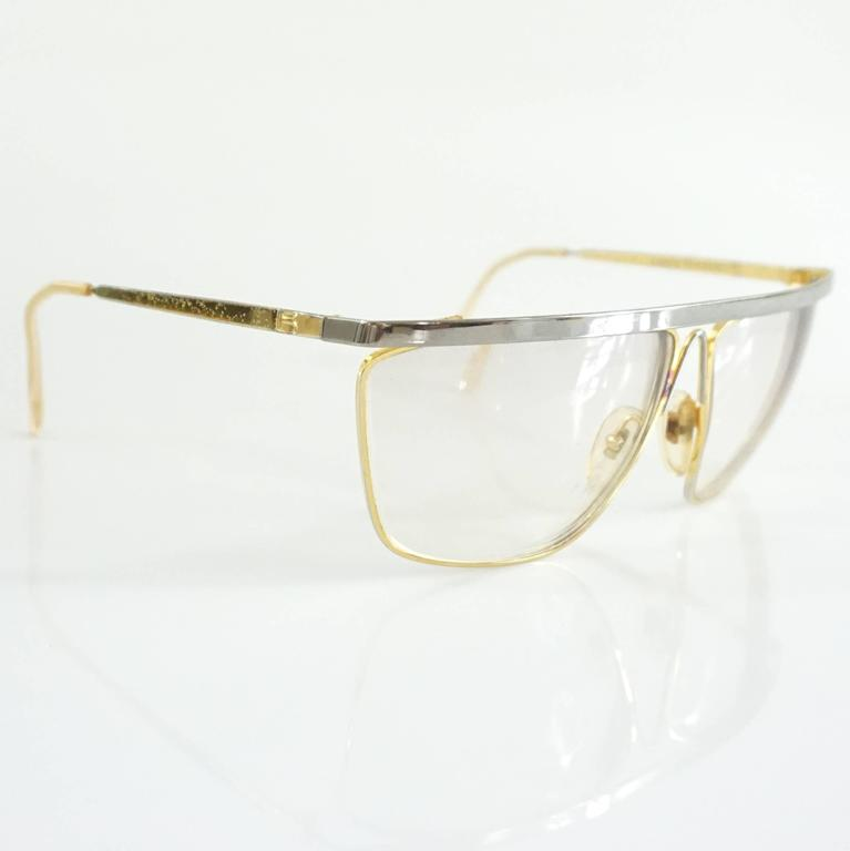 White Laura Biagiotti Gold and Silver Large Glasses For Sale