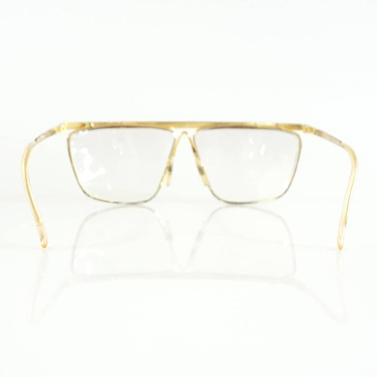 Laura Biagiotti Gold and Silver Large Glasses In Fair Condition For Sale In Palm Beach, FL