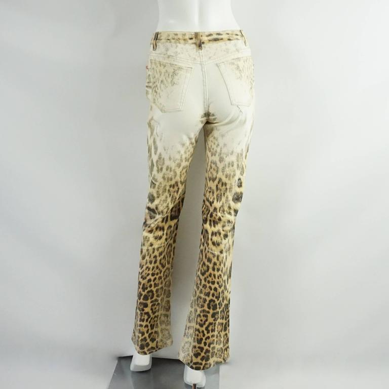 Beige Roberto Cavalli Ivory and Animal Print Jeans - S For Sale