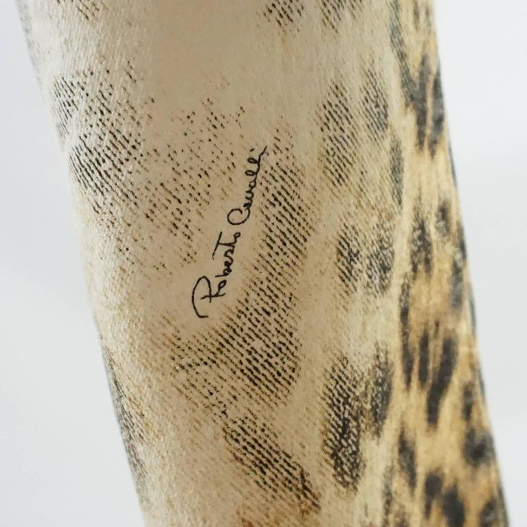 Women's Roberto Cavalli Ivory and Animal Print Jeans - S For Sale
