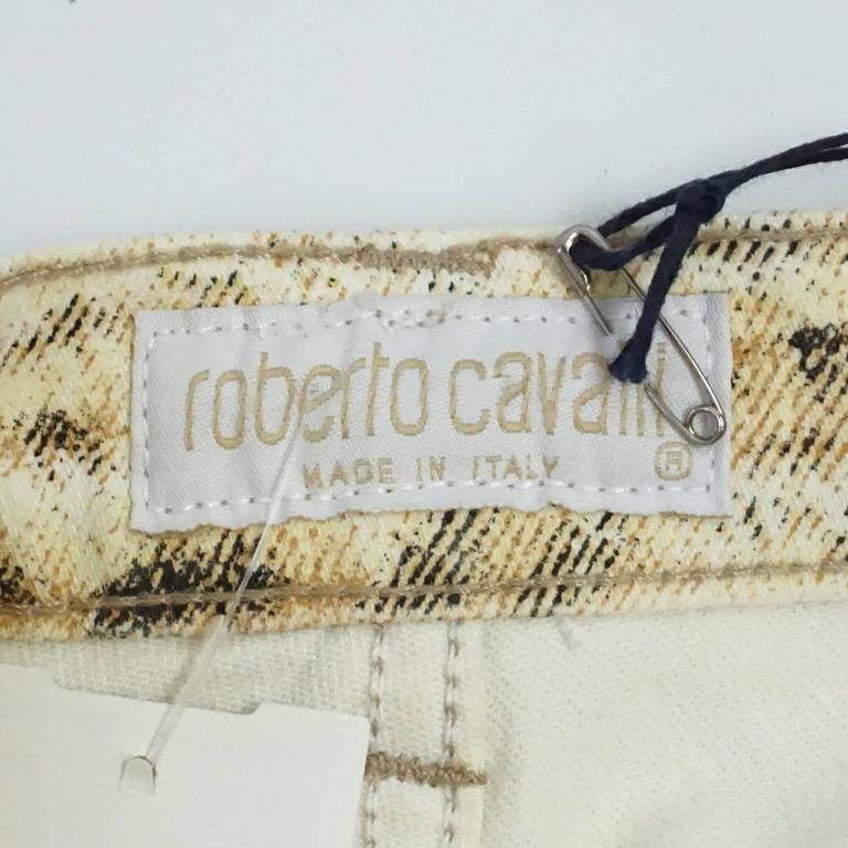 Roberto Cavalli Ivory and Animal Print Jeans - S For Sale 1