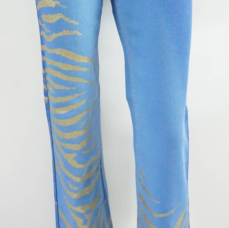 e246d5966022 Women's Roberto Cavalli Blue Jeans with Gold Glitter Zebra Print, Size S  For Sale