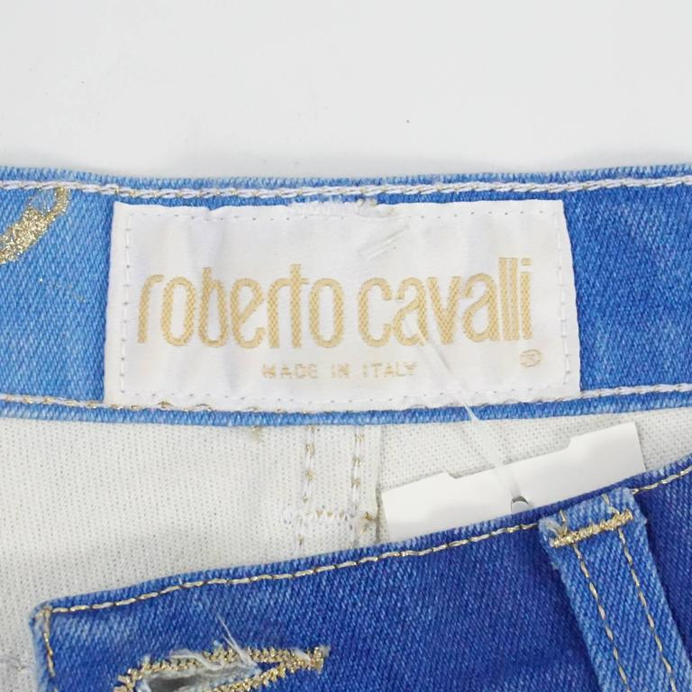 d478167fe4c8 Roberto Cavalli Blue Jeans with Gold Glitter Zebra Print, Size S For Sale 1