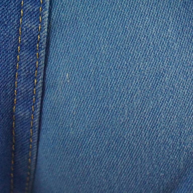 21e7f4dc08ab Roberto Cavalli Blue Jeans with Gold Glitter Zebra Print, Size S For Sale 3
