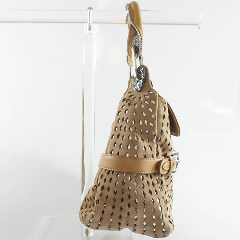 Jimmy Choo Tan and Silver Perforated Suede Shoulder Bag  2